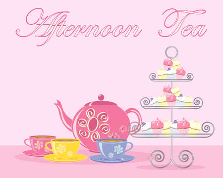 afternoon fancy cake: an illustration of a traditional english afternoon tea in advert format with teapot cups and fancy cake stand on a pink background