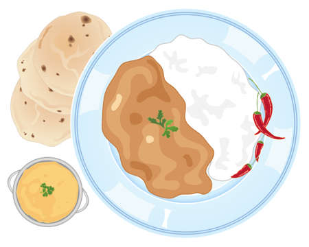 curry: an illustration of an advert for freshly made curry and rice on a plate with roti breads and dahl on a white background Illustration