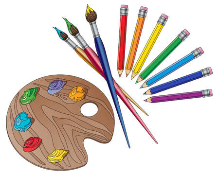 art materials: an illustration of art materials with brushes pencils and an artists palette with paints on a white background