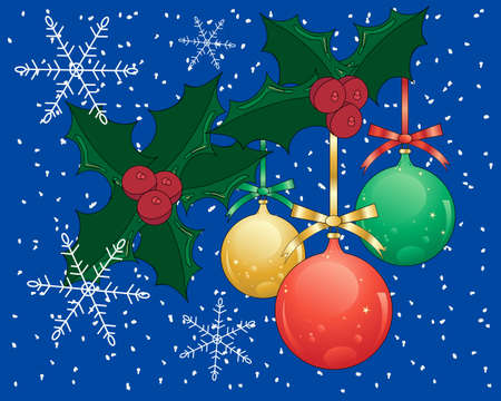 seasonal greeting: an illustration of a seasonal greeting card with absract holly baubles and snowflakes on a dark blue background