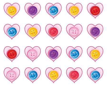 an illustration of an abstract greeting card design with hearts and colrful buttons on a white background