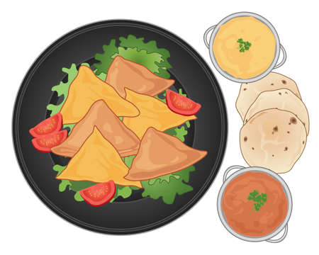 samosa: an illustration of a dark plate with samosa snacks lettuce and tomato and some spicy dips with chapatti bread on a white background