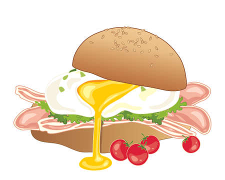sesame seeds: a poached egg with bacon and salad garnish in a big sesame seed bun on a white background
