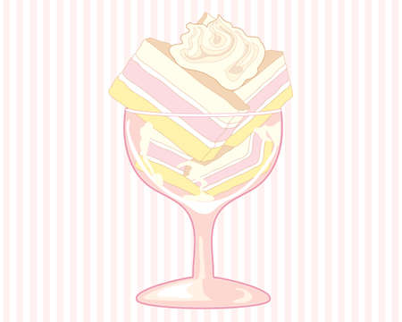 afternoon fancy cake: an illustration of a fancy glass with angel cake stacked with a swirl of whipped cream on a pink stripe background Illustration