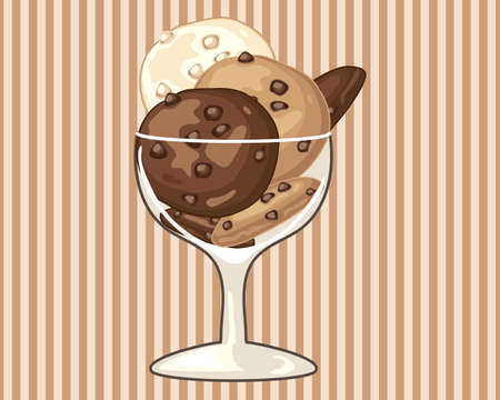fancy pastry: an illustration of a fancy glass with chocolate chip cookies stacked on a stripe background