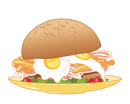 an illustration of a breakfast meal in a big sesame seed bread bun with fried eggs bacon fries and salad on a yellow plate and white background Illusztráció