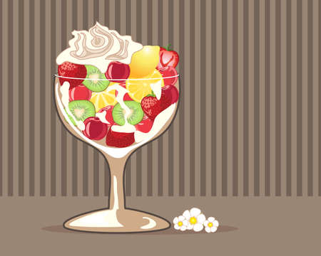 fruit salad: an illustration of a fancy glass with fresh fruit salad and cream on a chocolate stripe background