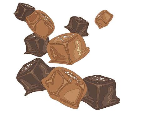 흰색 배경에 소금 된 캐 러 멜 사탕 조각의 그림