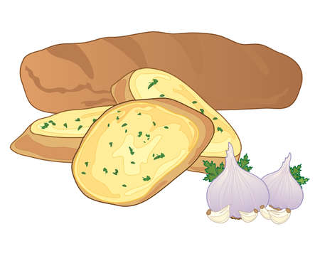 savoury: an illustration of a big garlic baguette with cut slices and some garlic bulbs on a white background Illustration