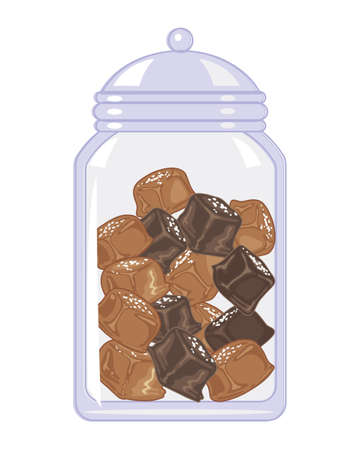 an illustration of a glass jar of salted caramel candy in small squares on a white background