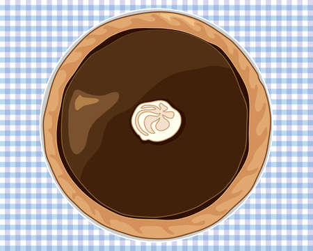 flan: an illustration of a dark chocolate tart with pastry casing on a blue gingham tablecloth