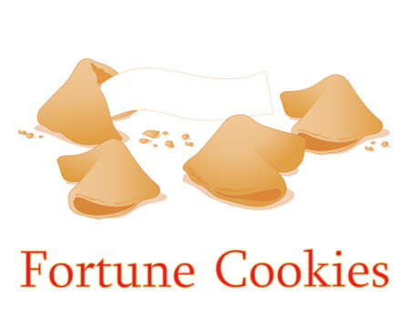 fortune cookie: an illustration of traditional fortune cookies for new year and celebrations on a white background