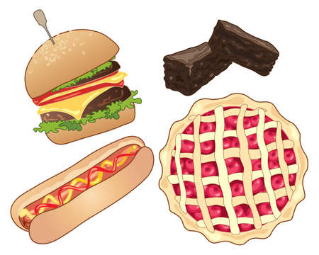 Illustration of american fast food including a burger in a bun a hot dog chocolate brownies and cherry pie on a white background