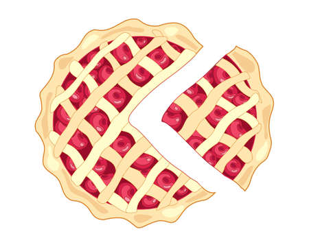 an illustration of a slice of cherry pie with a golden crust and lattice design with plump ripe red cherries