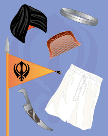 turban: an illustration of the symbols of the sikh faith including turban and dagger on a blue backdrop Illustration