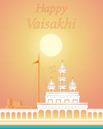 sikhism: an illustration of a gleaming white gurdwara with holy pool under a golden sun on a summer evening Illustration