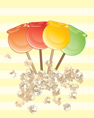 an illustration of popular sweet candy apples on a yellow striped background Illustration