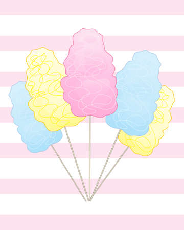 spun sugar: an illustration of popular sweet cotton candy on a pink strped background Illustration