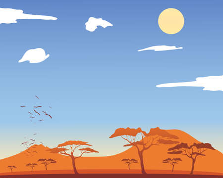 an illustration of a hot african landscape with acacia trees and mountains with fluffy white clouds and a yellow sun