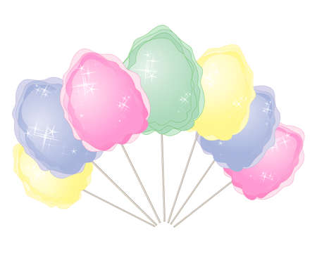 spun sugar: an illustration of colorful cotton candy in advertising format in pink blue yellow and green on a white background