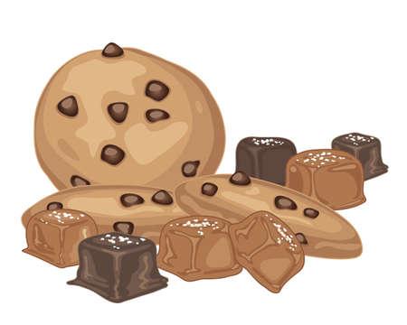 흰색 배경에 초콜릿 코팅 초콜릿 칩 쿠키와 소금에 절인 카라멜 사탕의 그림