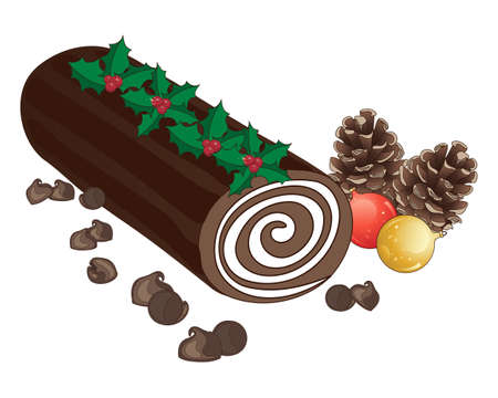 swiss roll: an illustration of a festive chocolate cake with cream swirl in the shape of a log decorated with holly sprigs pine cones baubles and chocolate chips Illustration