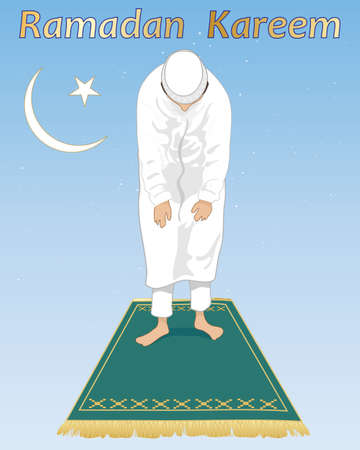 religious backgrounds: an illustration of a muslim devotee in prayer in the festival of ramadan with islamic symbol and prayer mat on a blue starry background