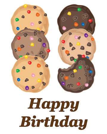 sugar cookies: an illustration of a bithday card greeting with colorful candy cookies on a white background Illustration