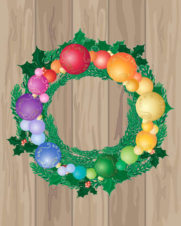 colrful: an illustration of wooden floor boards with a festive christmas wreath decorated with colorful baubles and holly