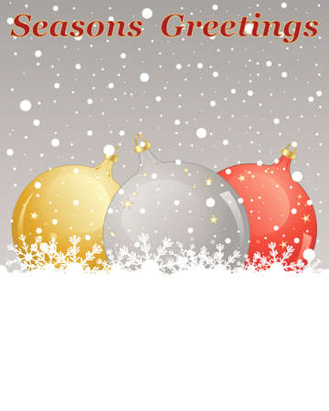 gold christmas decorations: an illustration of a christmas greeting card with gold silver and red metallic bauble decorations on a snowy background
