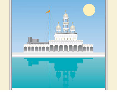 an illustration of a gateway leading to a beautiful white gurdwara with pool and reflection under a blue sky