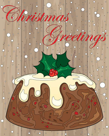 christmas pudding: an illustration of a christmas pudding with cream and holly decoration on wood in a greeting card format Illustration