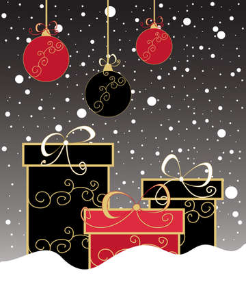 gift season: an illustration of a christmas greeting card with gift boxes and baubles decorated in black and red colors