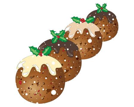 christmas pudding: an illustration of four festive christmas puddings with holly decoration on a snowy white background Illustration
