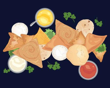 인도 음식과 사모 사와 빵을 포함한 복각의 삽화