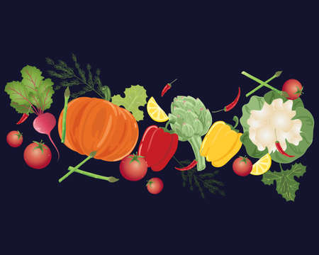 an illustration of a selection of colorful home grown vegetables Illustration