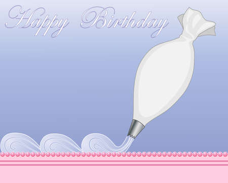an illustration of cake decorating with a white piping bag and wavy blue frosting on a pink sugar cake with a lavender blue background Illustration