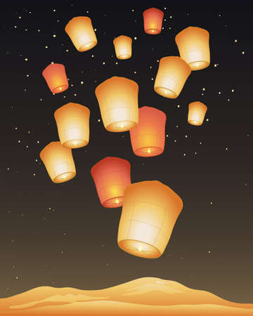 made in china: an illustration of traditional golden paper sky lanterns on a festival day with a dark starry sky and shimmering mountains