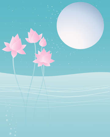 sky blue: an illustration of pink lotus flowers on water with a big silver moon and stars in a greeting card format with a blue night sky