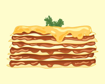 an illustration of a home made lasagna meal with layers of golden pasta mince beef and a melted cheese topping with garnish on a pale background Çizim