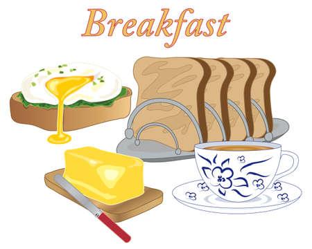 une illustration de la nourriture petit-déjeuner de style avec un beurre de pain d'oeuf poché et une tasse de thé sur un fond blanc
