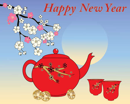 pink sky: an illustration of a chinese new year greeting card design with a red decorative teapot and cups with pink and white blossom branch and golden chinese coins on a blue morning sky background Illustration