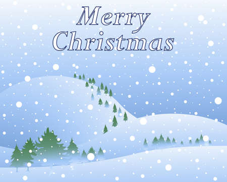 winter scenery: an illustration of snowy winter christmas scenery with pine trees hills and snowflakes in greeting card format with the words merry christmas Illustration