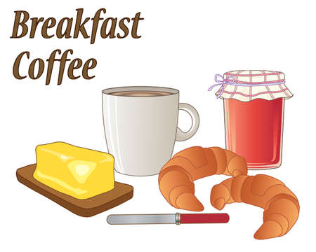an illustration of a breakfast meal with a mug of coffee two croissant a jar of strawberry jam butter and a knife Illustration