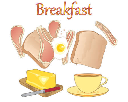 fried egg: an illustration of a breakfast meal with a cup of tea toast bacon rashers fried egg and a block of golde butter