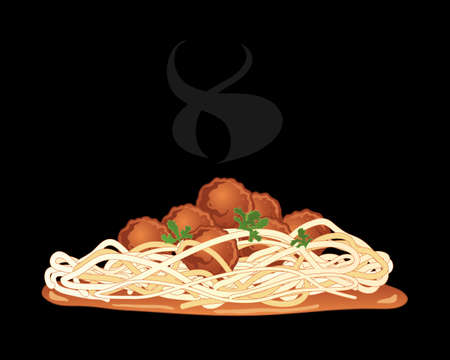 cilantro: an illustration of meatballs with spaghetti and tomato sauce with cilantro garnish and steam on a black background Illustration