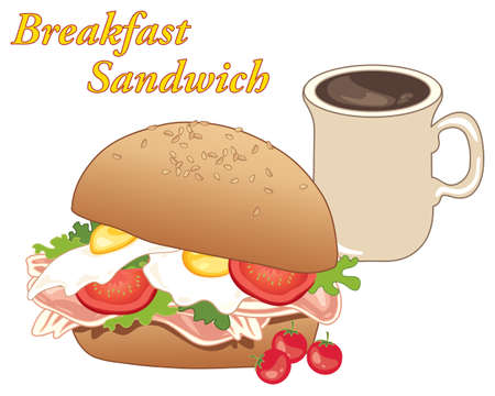 an illustration of a breakfast sandwich with eggs and bacon salad and a cup of coffee on a white background
