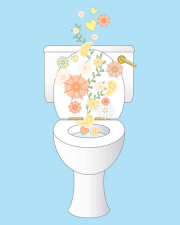 an illustration of a sparkling white clean ceramic toilet with freshness represented by flowers and foliage on an ice blue background Ilustração