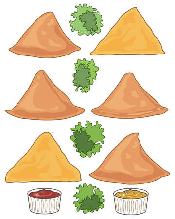 deep fried: an illustration of six samosas with garnish and two dips on a white background in the format of a food advert