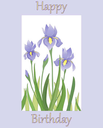 flower age: an illustration of a birthday card with an iris flower design on a lilac background and the words happy birthday
